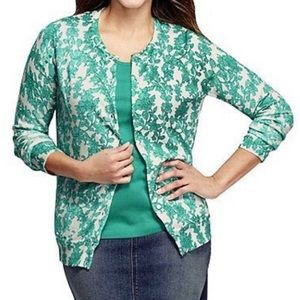 LANDS' END ✨NWT✨ Floral Supima Cardigan Sweater